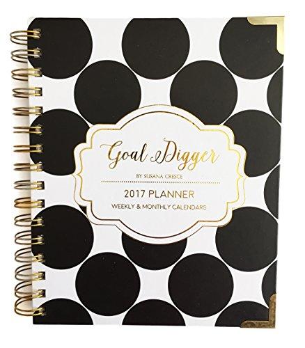 Best Weekly Notebook Planner - Jan-Dec 2017 Agenda - Polka Dot Notebook Gold