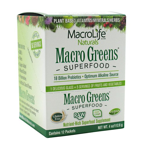 Macro Life Naturals Macro Greens - Macro Life Naturals Miracle Greens Super Food Supplement (12 Day Supply) 12 Packets Powder (12/4 oz) 12 x 4 Oz ( Value Bulk Multi-pack)