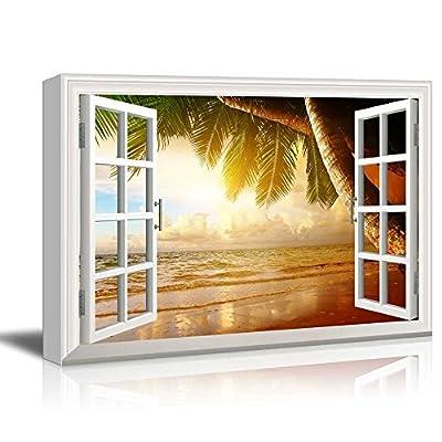 Creative Window View Sunrise on The Oceanside - Canvas Art