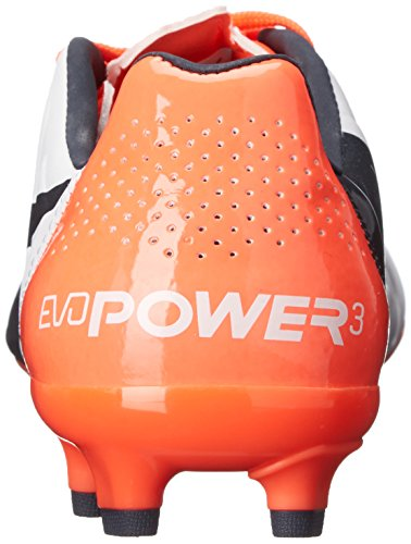 PUMA evoPOWER 3.2 Feste Erde Jr Fußballschuh Weiß / Totale Sonnenfinsternis / Lava-Explosion
