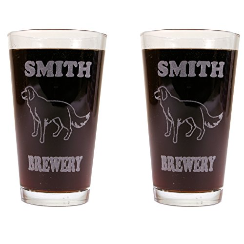 Beer Mugs With Dog Breeds - 2 Pack of Made in USA Pint Glasses (Golden Retriever) (Retriever Dog Stamp)