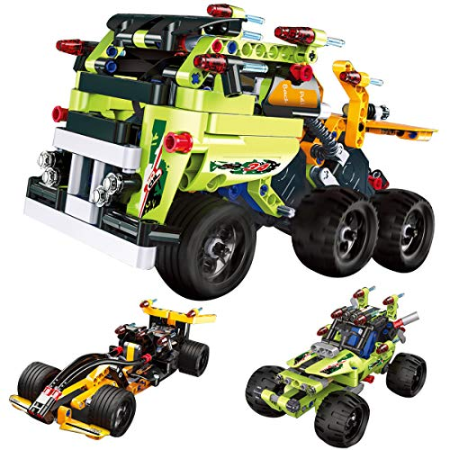 STEM Building Take Apart Toys Remoking Pull-back Racing car DIY 3 in 1 Building Block Set Assembly Sports Car Children Puzzle Learning Toys Suitable for Children's Birthday Gifts