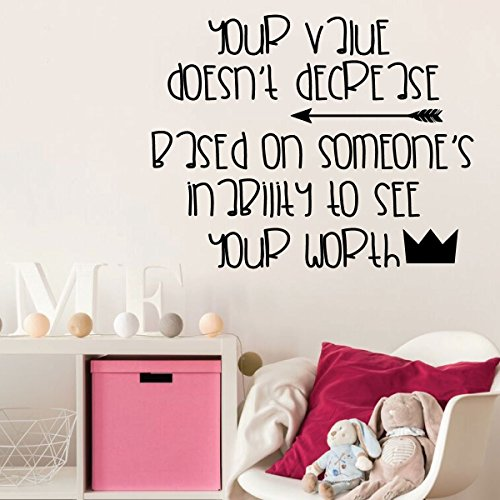 Inspiring Life Quotes Wall Decor Vinyl Decal for Tweens - Your Value Doesn't Decrease - Kids or Teenage Boys or Girl's Bedroom or Playroom Decoration