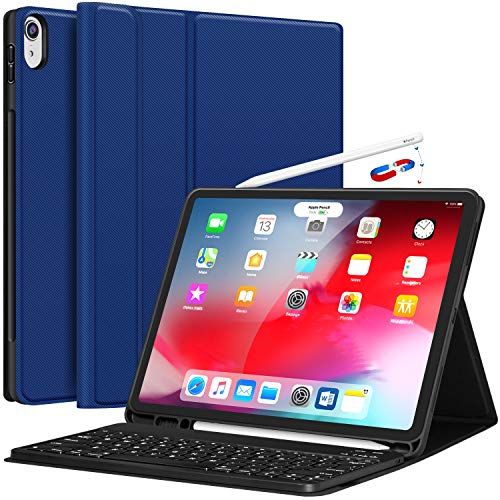 Pencil Keyboard (iPad Pro 12.9 Case with Keyboard 2018-3rd Gen [Support Apple Pencil Charging] [with Pencil Holder] Magnetically Detachable Wireless Keyboard for iPad Pro 12.9 2018 (Not for 2017/2015), Blue)