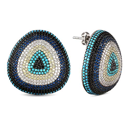 Silver Stud Earrings for Women 925 Sterling with Cubic Zirconia and Turquoise stones, Turkish Handmade Leverback Protection Evil Eye Stud Earring, Womens Jewelry
