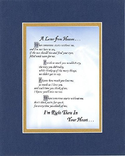 GoodOldSaying - Poem for Bereavement - A Letter from Heaven Poem on 11 x 14 inches Double Beveled Matting (Blue On Gold)