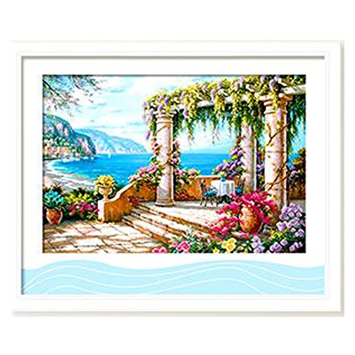 Count Stamped Cross Stitch (DOMEI 3D Stamped Cross Stitch Kit,Seaside View, 26.4 x 18.9inches)