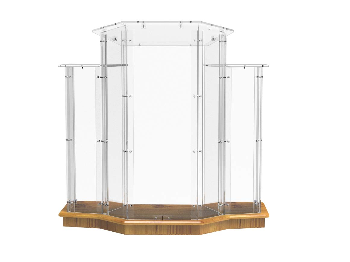 FixtureDisplays Podium, Wood Base w/Clear Ghost Acrylic, Lectern, Pulpit, 3 Tier Construction - Assembly Required 11909