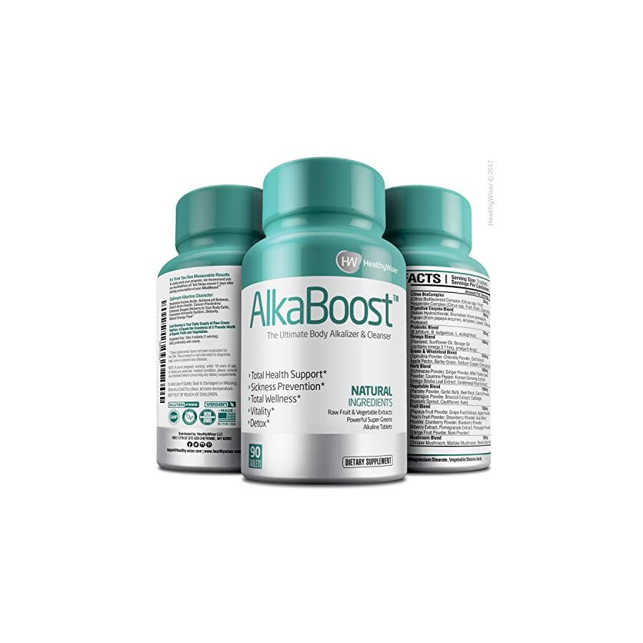 Alka Boost MultiVitamin for Healthy pH Balance, Alkaline Booster & Immune System Support. Natural Detox & Sickness Prevention Promotes Energy Clarity and Focus Green and Wholefood Blend, 90ct