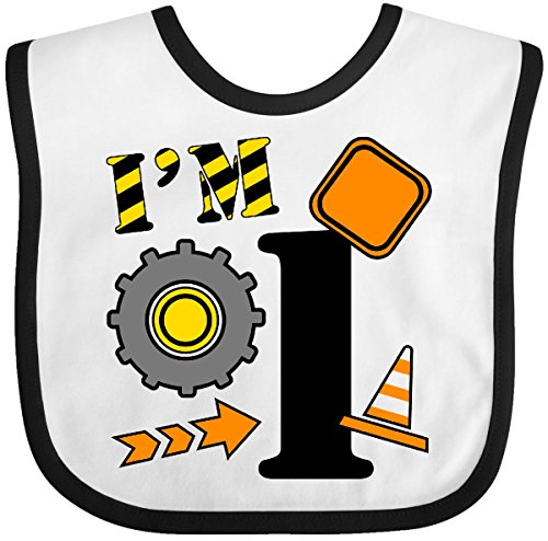Inktastic - I'm One- construction birthday Baby Bib White/Black - Construction 1st Birthday Outfit