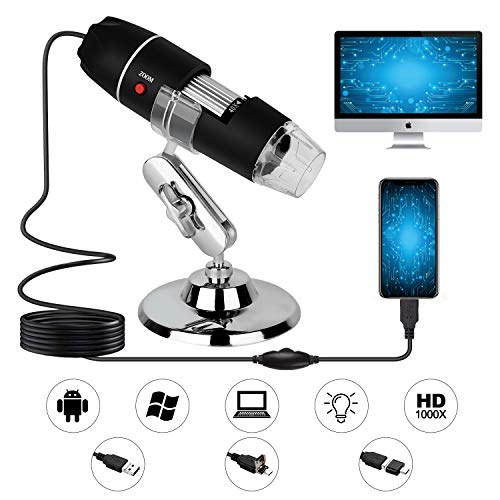 USB Digital Microscope,40X to 1000X Magnification Endoscope Mini Camera with 8 LEDs and Microscope Metal Stand,Compatible with Android, Mac,Window 7 8 10 for Kids, Students, Adults (Black) best to buy