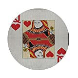 iPrint Cotton Linen Round Tablecloth,Queen,Queen of Hearts Playing Card Casino Decor Gambling Game Poker Blackjack Deck,Red Yellow White,Dining Room Kitchen Table Cloth Cover