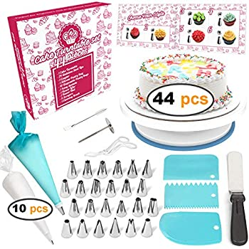 Cakebe 44-Piece Cake Decorating Supplies Kit with Cake Turntable, Beginner Baking Supplies with 24 Icing Tips, 10 Piping Bags, 1 Silicone Pastry Bag, 3 Cake Scrappers, 1 Icing Spatula