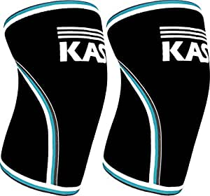 KASP Knee Sleeves 7mm Neoprene Support Pads Injury Prevention for Fitness, Martial Arts, Wrestling, & Volleyball - Compression Activity Aid for Men & Women Blue Trim Small