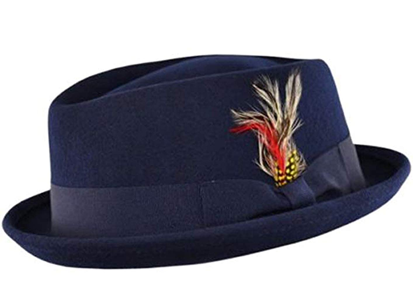 Unisex Superb Foldable Pork Pie Trilby Hat with Removable Feather and Matching Band 100% Wool Hand Made Diamond Crown