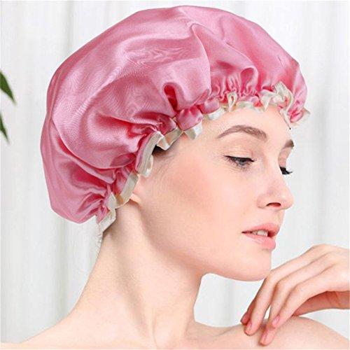 Doland Shower Cap, 1 Pc Bath Cap Designed for Women Waterproof Double Layer Satin Lined,Dark Pink ()