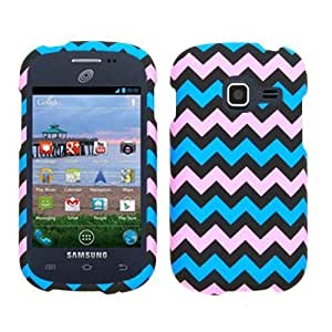 2D Pink Blue Chevron Samsung Galaxy Centura / Discover S738C Cricket Case Cover Hard Phone Case Snap-on Cover Rubberized Frosted Matte Surface Hard Shells