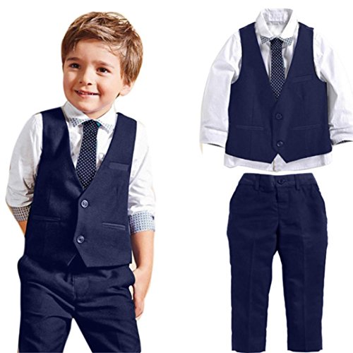 Boys Clothes Set for 2-7 Years Old,Baby Boys Kids Gentleman Wedding Suits Shirts+Waistcoat+Long Pants+Tie Outfit (3-4 Years Old, Blue) by Moonker