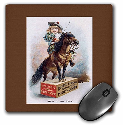 (3dRose BLN Vintage Trade Cards Ad Art Reproductions - BT Rabbitts Baking Powder Girl on a Pony Standing on a Crate - MousePad (mp_170512_1))