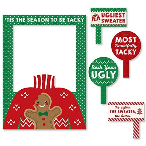 Big Dot of Happiness Ugly Sweater - Holiday & Christmas Party Selfie Photo Booth Picture Frame & Props - Printed on Sturdy Material ()