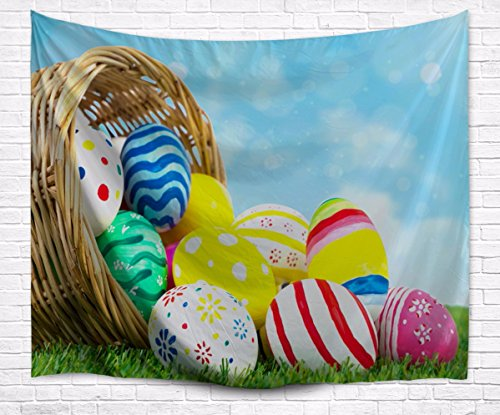 A.Monamour Colorful Painted Easter Egg In Basket On Green Grass Lawn Blue Sky Holiday Theme Print Wall Décor Wall Hanging Tapestry for Kids Boys Girls Bedroom 153x203cm/60