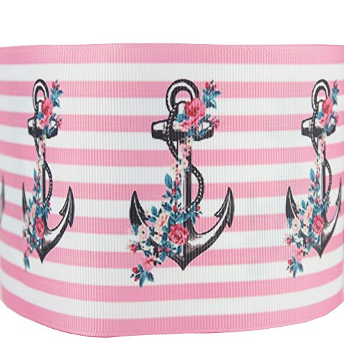 HMR 75MM Printed Grosgrain Anchor Ribbon for Decorative 10 Yards