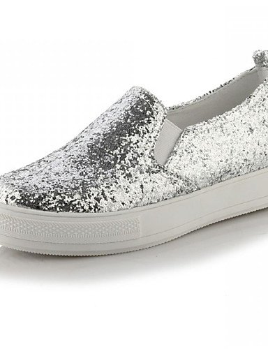 ZQ Zapatos de mujer - Plataforma - Plataforma / Creepers - Mocasines - Exterior / Vestido / Casual - Semicuero - Negro / Plata / Oro , black-us6 / eu36 / uk4 / cn36 , black-us6 / eu36 / uk4 / cn36 silver-us7.5 / eu38 / uk5.5 / cn38