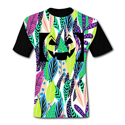 Pumpkin Smiley Face Lamp Black Short-Sleeved Fashion T-Shirt S ()