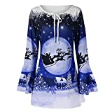 WOCACHI Final Clear Out Christmas Womens Blouses Plus Size Bandage Flare Sleeve Xmas Shirt Tops Black Friday Cyber Monday Winter Bottoming Shirts Pullover Sweatshirt Blue