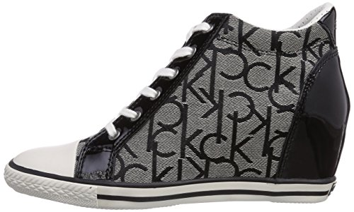 Alte Klein Calvin Ck Sneaker black Donna Multicolore patent Vero Jacquard mehrfarbig Logo granite Rw04q6Zw