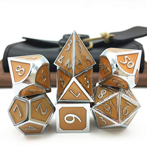 Momostar Metal Polyhedral Dice Set, Delicate Leatherette Box & Cleaning Cloth. Great for RPG, D&D. - Chrome Color & Orange Background.