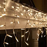 70 M5 LED Warm White Icicle Lights, 7.5' on White Wire, Warm White Christmas Lights Outdoor Wedding Lights Party Home Bedroom Icicle Lights LED (M5 Lights, Warm White)