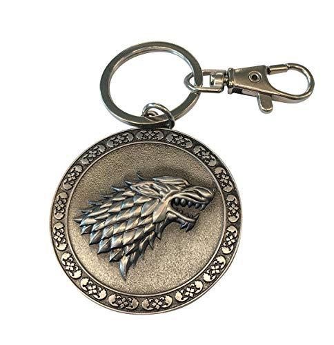 Game of Thrones Keychain - GoT House Stark Key Holder - Collectible Sigil Dire Wolf Logo Metal Keyring Pendant