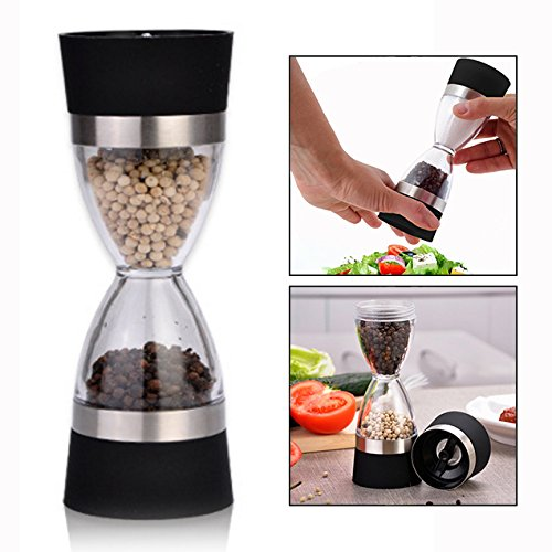 Itian Salt and Pepper Mills Grinder Manual with Adjustable Rotor Suitable for Peppercorns, Sea Salt, Himalayan Salt, Spices (Black)