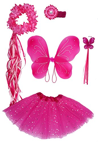 Girls Hot Pink Fairy Costume with Butterfly Wings, Wand, Tutu & Halo (Glitter Fairy Wings)