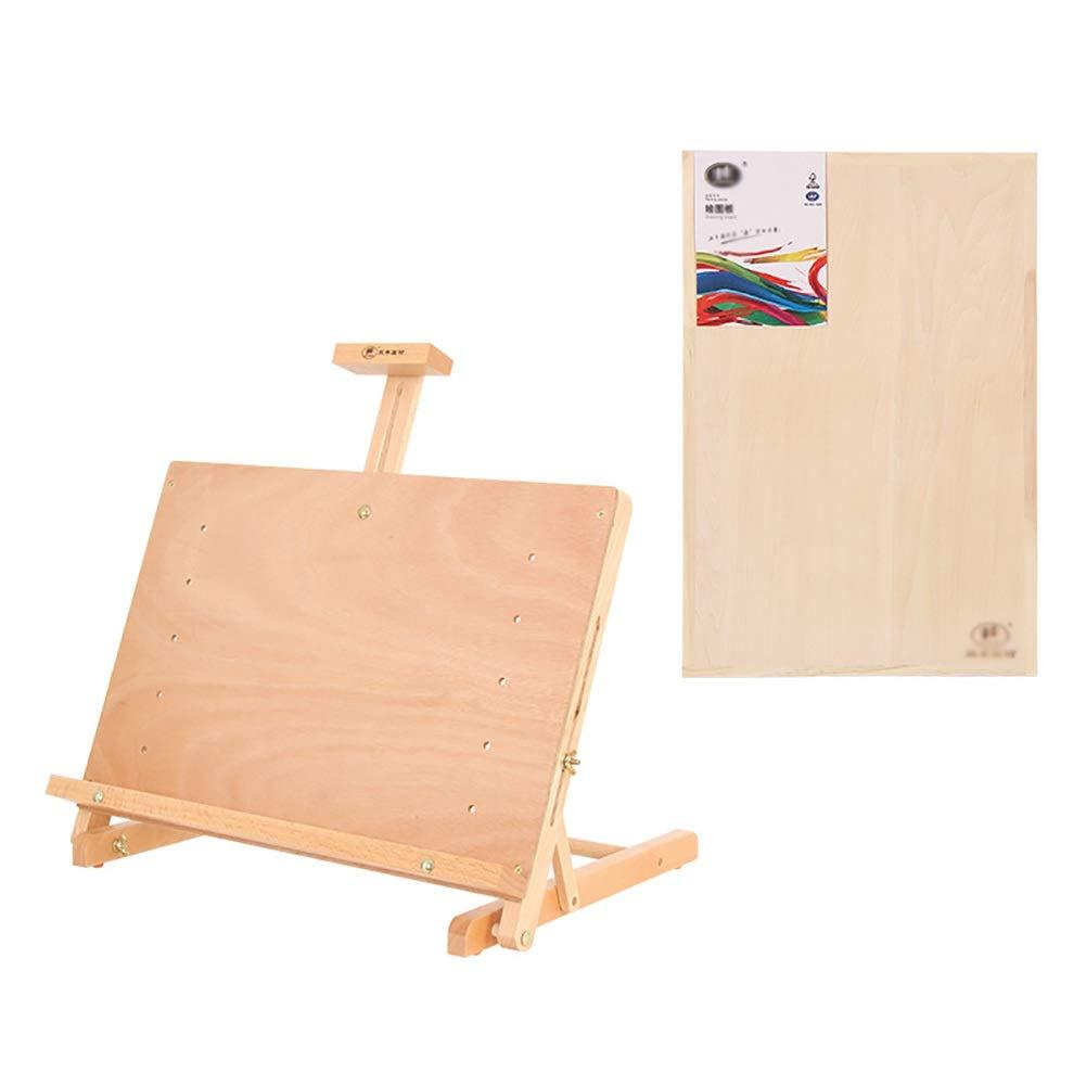 携帯用木のデスクトップの油絵箱のデッサンの陳列台、耐久および固体、50×37×8-67.5cm (サイズ さいず : 4K drawing board) 4K drawing board  B07QCRC5FY