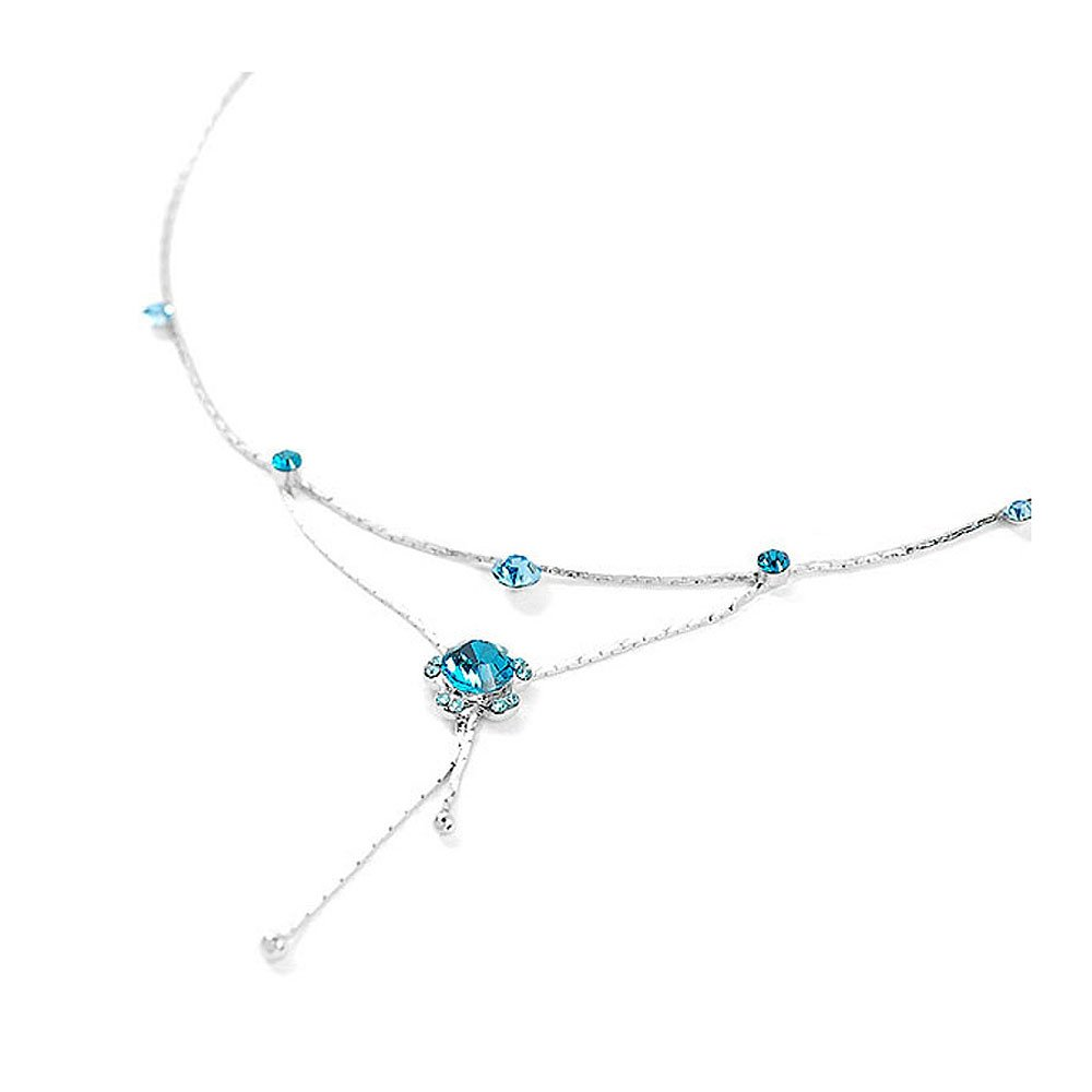 Glamorousky Flower Anklet with Blue Austrian Element Crystals (1845)