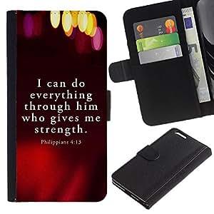 EJOY---La carpeta del tirón la caja de cuero de alta calidad de la PU Caso protector / Apple Iphone 6 PLUS 5.5 / --BIBLIA Filipenses 4:13 Todo lo puedo