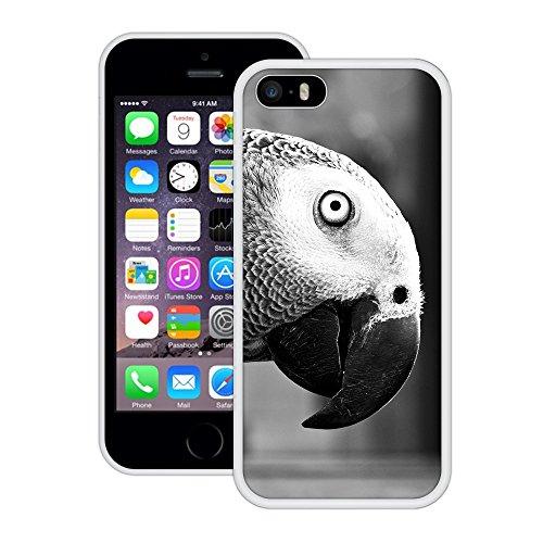 Grau-Papagei | Handgefertigt | iPhone 5 5s SE | Weiß Hülle