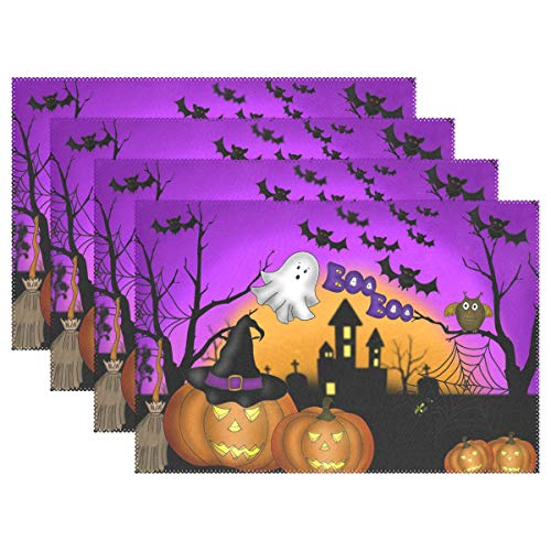 Wamika Halloween Pumpkin Gost Placemats for Dining Table Set Of 6, Autumn Fall Owl Bat Castle Kitchen Table Mats Washable Heat Resistant Stain-resistant Non Slip Placemat 12x18 inch Easy to Clean -