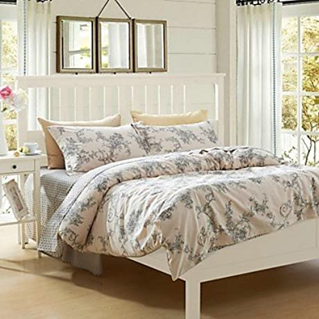Naluo Cotton 100 Duvet Cover Set 4 Pieces Floral Pattern Ikea Style Modern Simple Style