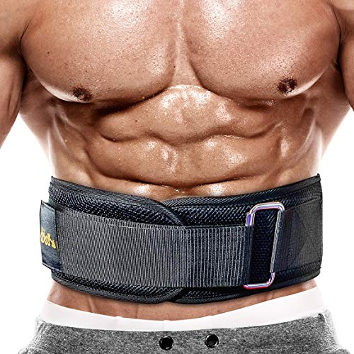 PeoBeo Fitness Weight Lifting Belt for Heavy Lifting Workouts | 6 Inch Power Weight Lifting Belt for Men and Women (Black, Large)