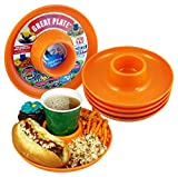 Great Plate – Plastic Party Plate for Food and Drink in One Hand - Orange, 6 Piece