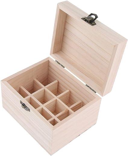 Caja Estuche de Madera para Aceite Esencial Contener 12 Piezas de Botellas 10 Ml: Amazon.es: Belleza