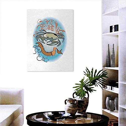 Mint Canvas Wall Art Cancer Sign in Cartoon Tattoo Style Astrological Theme with Floral Details Horoscope Wall Sticker Yellow Flowers 32