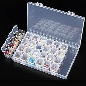 Whitelotous Plastic Compartments Holder Convenient Manicure Jewelry Storage Box Pills Box Contact Lens Organizer Container (28 Slots)