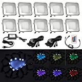 QACA 10pcs RGB Color Changing LED In-Ground Lights kit Low Voltage 0.9W Outdoor Waterproof IP67 Stainless Steel Garden Decor Lamps Landscape Lighting Yard Mall Pathway Stairway Step LED Deck Light