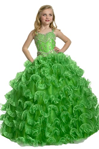 GreenBloom Sweetie Girls' Spaghetti Organza Birthday Pageant Dresses Green 2