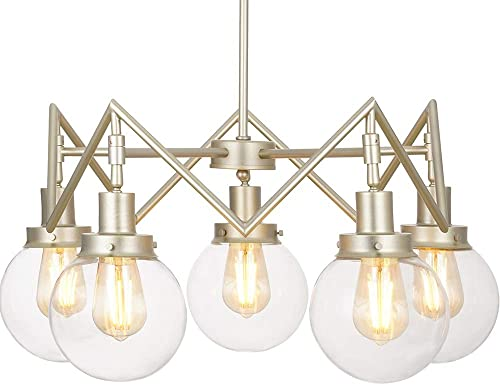Rivet Mid-Century Modern Glass Sphere Chandelier with 5 Light Bulbs – 26 x 26 x 9.5 Inches, 20 – 55 Inch Cord, Soft Brass