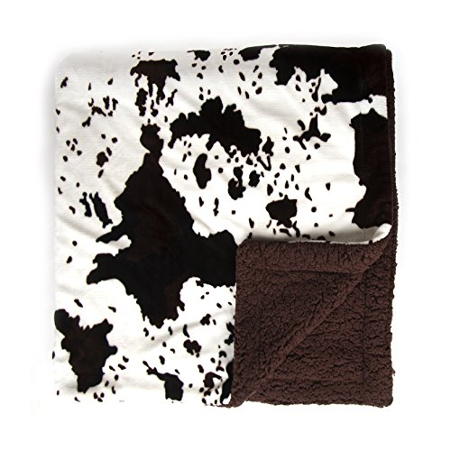 Sleeping Partners Cowhide Print and Sherpa Plush Throw Blank